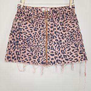 Free people leopard print denim mini skirt 29